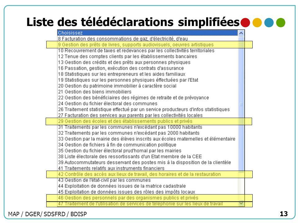 MAP / DGER/ SDSFRD / BDISP 13 Liste des télédéclarations simplifiées