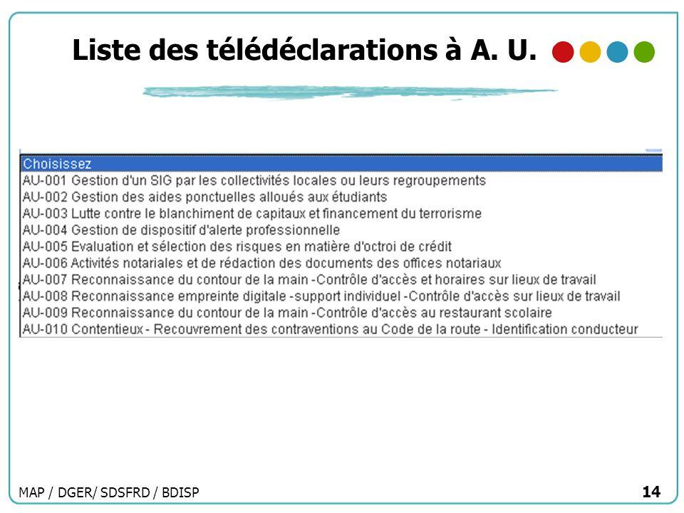 MAP / DGER/ SDSFRD / BDISP 14 Liste des télédéclarations à A. U.