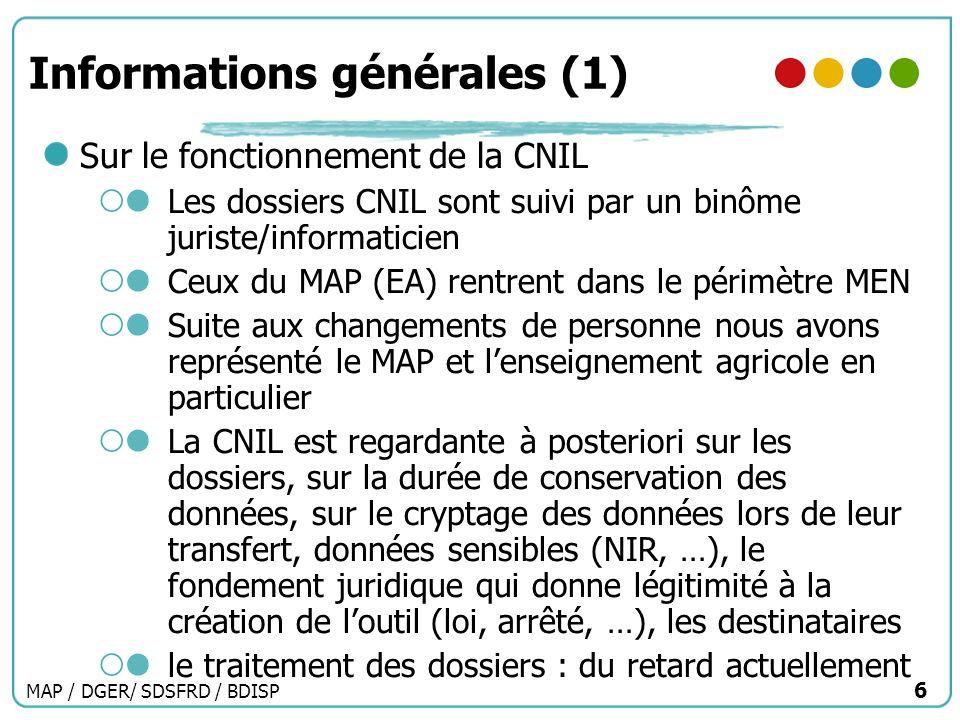 MAP / DGER/ SDSFRD / BDISP 6 Informations générales (1) Sur le fonctionnement de la CNIL Les dossiers CNIL sont suivi par un binôme juriste/informatic