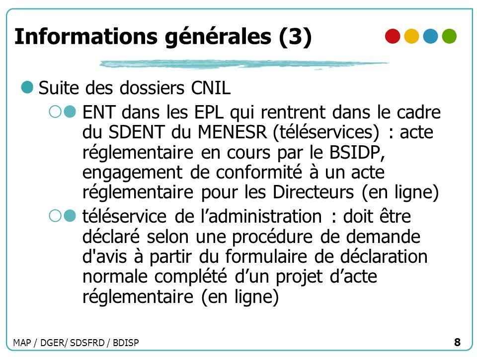 MAP / DGER/ SDSFRD / BDISP 8 Informations générales (3) Suite des dossiers CNIL ENT dans les EPL qui rentrent dans le cadre du SDENT du MENESR (télése