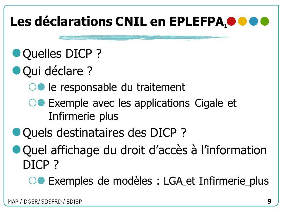 MAP / DGER/ SDSFRD / BDISP 9 Les déclarations CNIL en EPLEFPA 1 Quelles DICP ? Qui déclare ? le responsable du traitement Exemple avec les application