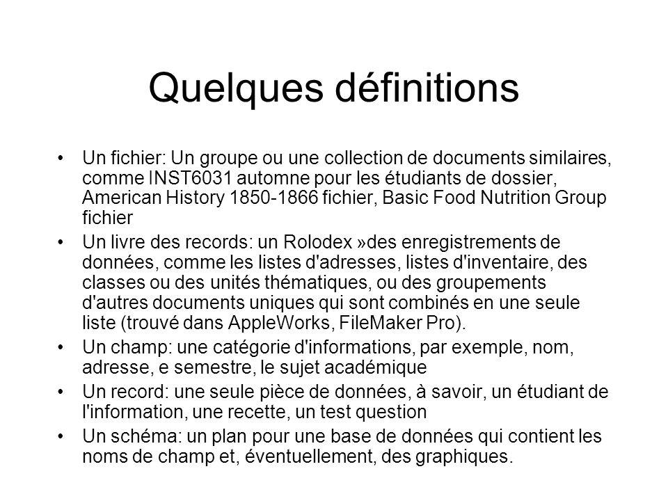 Quelques définitions Un fichier: Un groupe ou une collection de documents similaires, comme INST6031 automne pour les étudiants de dossier, American H