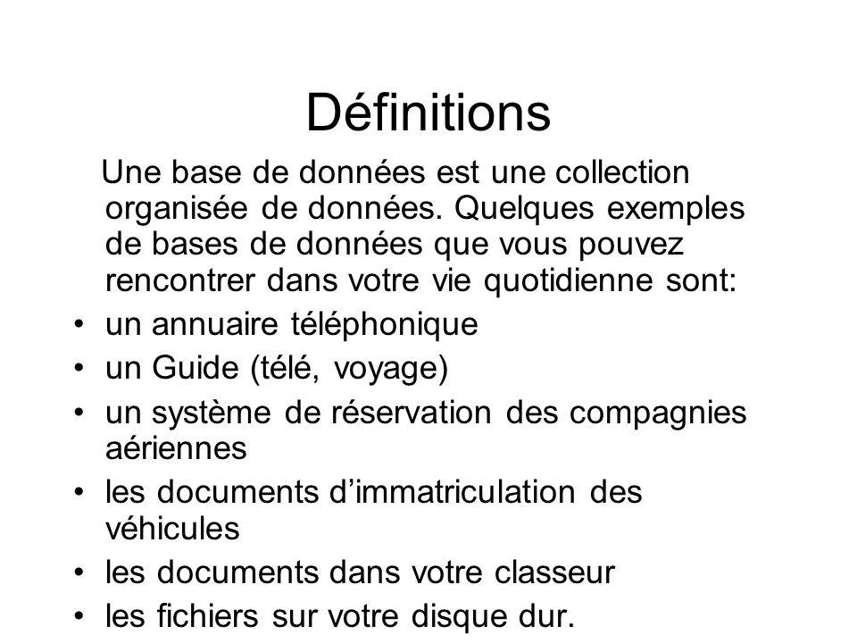 Définitions Une base de données est une collection organisée de données. Quelques exemples de bases de données que vous pouvez rencontrer dans votre v