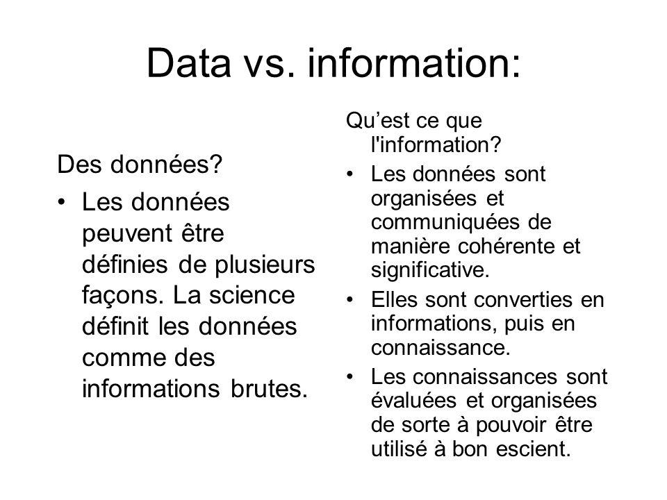 Data vs. information: Des données? Les données peuvent être définies de plusieurs façons. La science définit les données comme des informations brutes