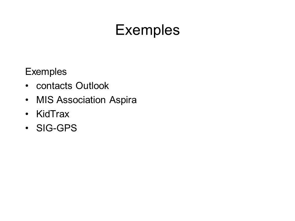 Exemples contacts Outlook MIS Association Aspira KidTrax SIG-GPS