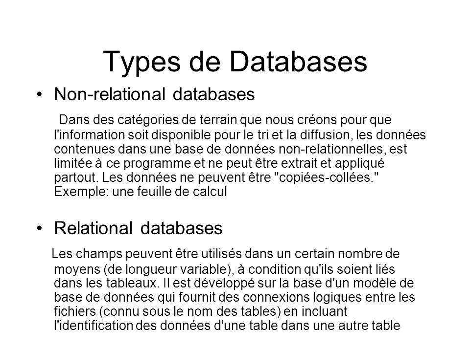 Types de Databases Non-relational databases Dans des catégories de terrain que nous créons pour que l information soit disponible pour le tri et la diffusion, les données contenues dans une base de données non-relationnelles, est limitée à ce programme et ne peut être extrait et appliqué partout.
