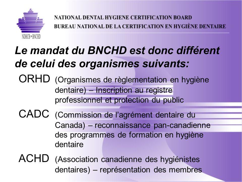Le mandat du BNCHD est donc différent de celui des organismes suivants: ORHD (Organismes de règlementation en hygiène dentaire) – Inscription au registre professionnel et protection du public CADC (Commission de lagrément dentaire du Canada) – reconnaissance pan-canadienne des programmes de formation en hygiène dentaire ACHD (Association canadienne des hygiénistes dentaires) – représentation des membres