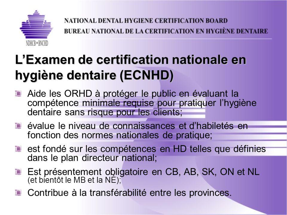 Aide les ORHD à protéger le public en évaluant la compétence minimale requise pour pratiquer lhygiène dentaire sans risque pour les clients; évalue le niveau de connaissances et dhabiletés en fonction des normes nationales de pratique; est fondé sur les compétences en HD telles que définies dans le plan directeur national; Est présentement obligatoire en CB, AB, SK, ON et NL (et bientôt le MB et la NÉ); Contribue à la transférabilité entre les provinces.