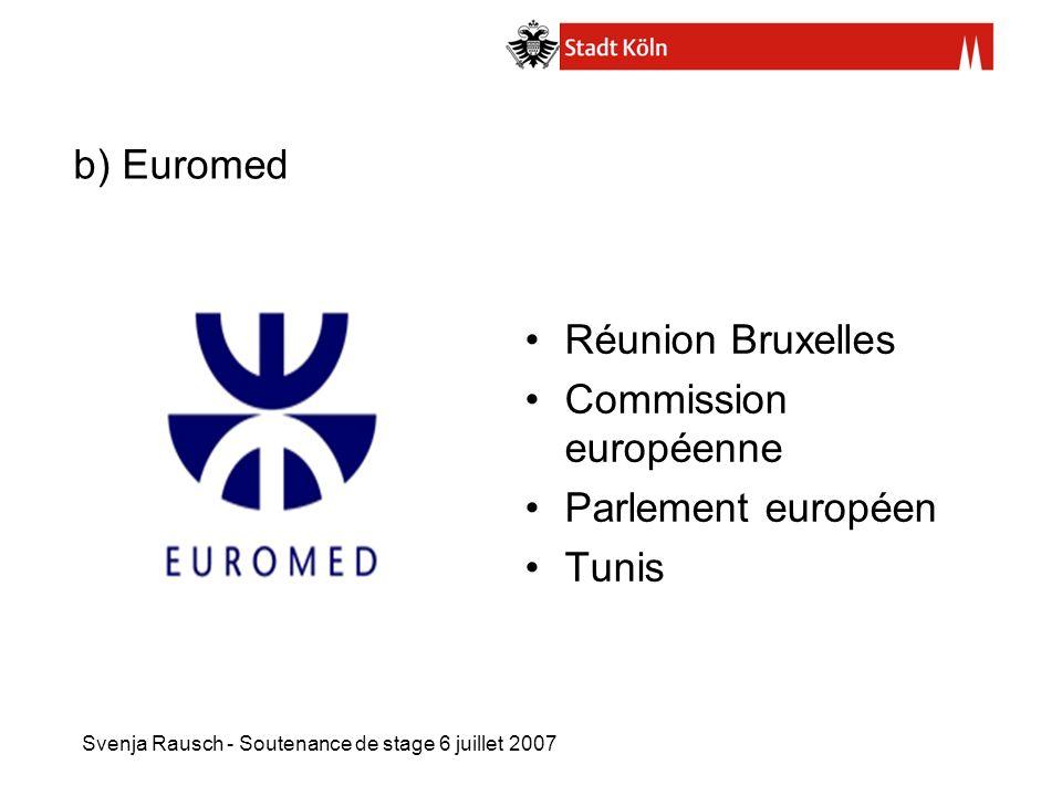 Svenja Rausch - Soutenance de stage 6 juillet 2007 b) Euromed Réunion Bruxelles Commission européenne Parlement européen Tunis