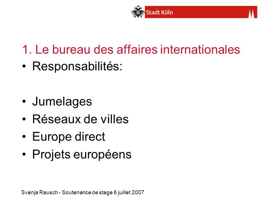 Svenja Rausch - Soutenance de stage 6 juillet 2007 1. Le bureau des affaires internationales Responsabilités: Jumelages Réseaux de villes Europe direc