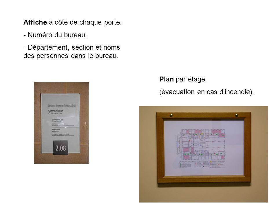 Plan par étage. (évacuation en cas dincendie). Affiche à côté de chaque porte: - Numéro du bureau.