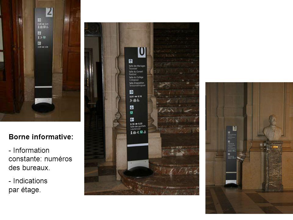 Borne informative: - Information constante: numéros des bureaux. - Indications par étage.