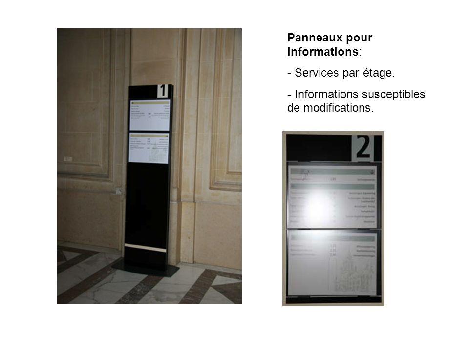 Panneaux pour informations: - Services par étage. - Informations susceptibles de modifications.