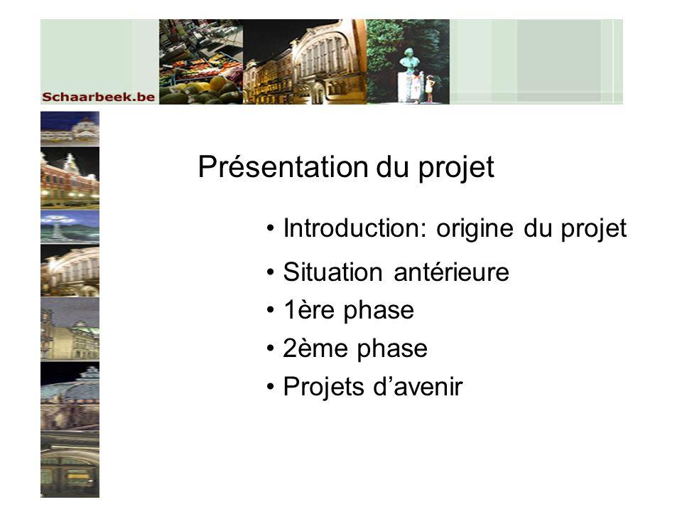 Présentation du projet Introduction: origine du projet Situation antérieure 1ère phase 2ème phase Projets davenir