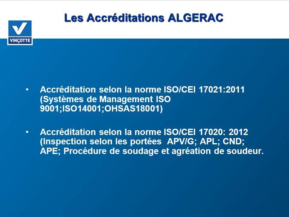Les Accréditations ALGERAC Accréditation selon la norme ISO/CEI 17021:2011 (Systèmes de Management ISO 9001;ISO14001;OHSAS18001) Accréditation selon l
