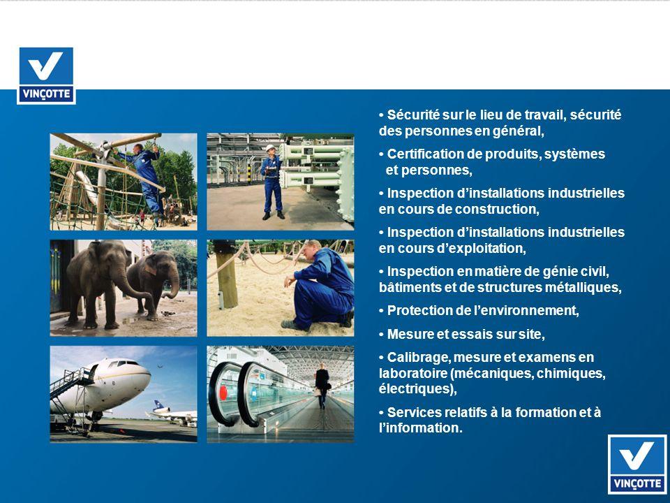 Sécurité sur le lieu de travail, sécurité des personnes en général, Certification de produits, systèmes et personnes, Inspection dinstallations indust
