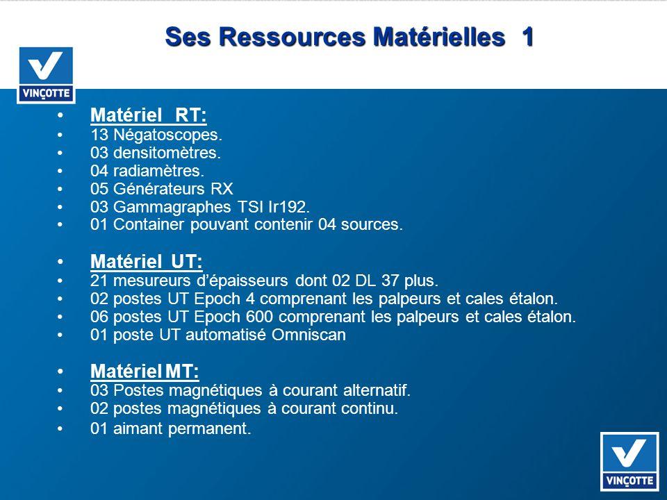 Ses Ressources Matérielles 1 Matériel RT: 13 Négatoscopes. 03 densitomètres. 04 radiamètres. 05 Générateurs RX 03 Gammagraphes TSI Ir192. 01 Container