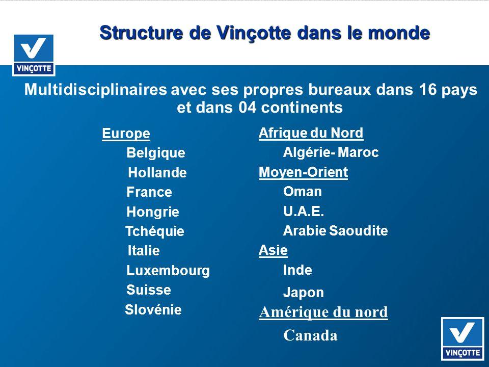 Structure de Vinçotte dans le monde Multidisciplinaires avec ses propres bureaux dans 16 pays et dans 04 continents Europe Belgique Hollande France Ho