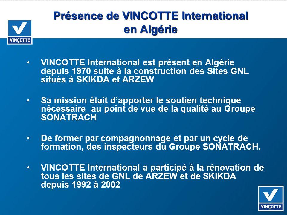 Présence de VINCOTTE International en Algérie VINCOTTE International est présent en Algérie depuis 1970 suite à la construction des Sites GNL situés à