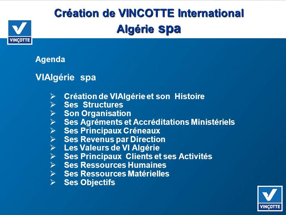 Création de VINCOTTE International Algérie spa Agenda VIAlgérie spa Création de VIAlgérie et son Histoire Ses Structures Son Organisation Ses Agrément