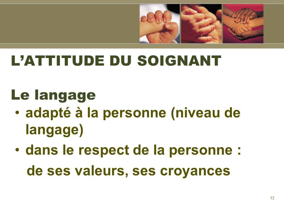 13 LATTITUDE DU SOIGNANT Le langage adapté à la personne (niveau de langage) dans le respect de la personne : de ses valeurs, ses croyances