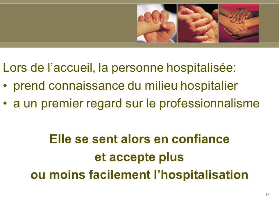 17 Lors de laccueil, la personne hospitalisée: prend connaissance du milieu hospitalier a un premier regard sur le professionnalisme Elle se sent alor