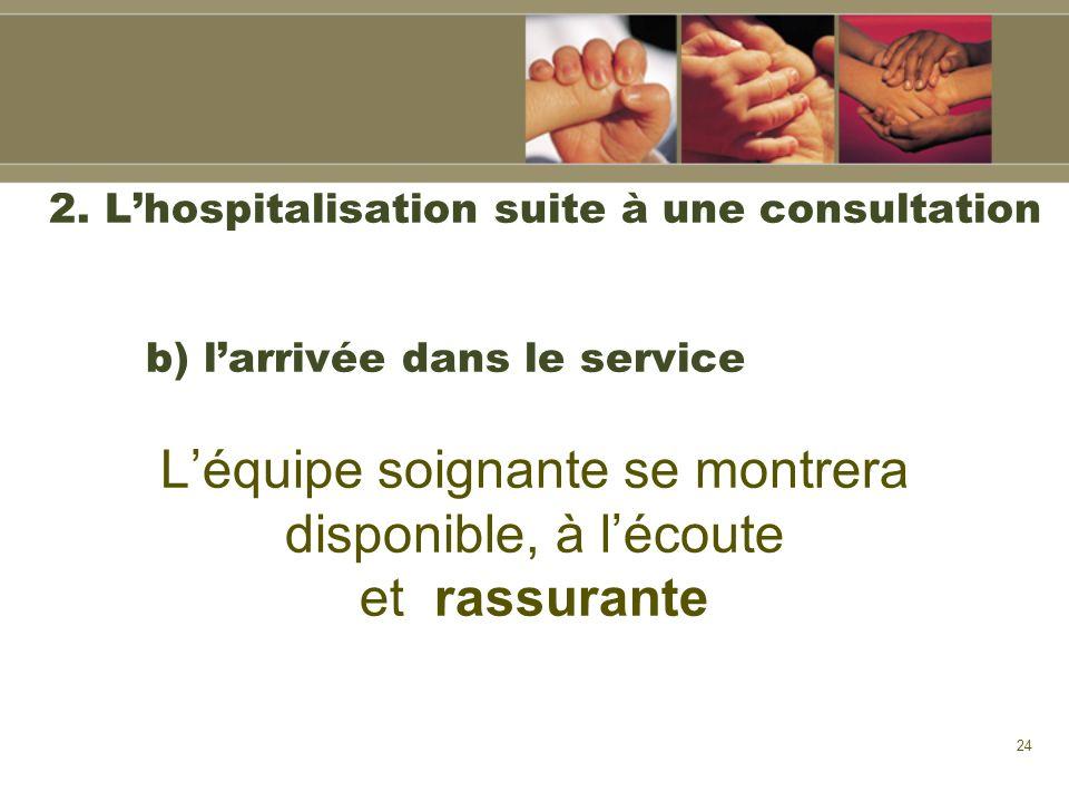 24 2. Lhospitalisation suite à une consultation b) larrivée dans le service Léquipe soignante se montrera disponible, à lécoute et rassurante