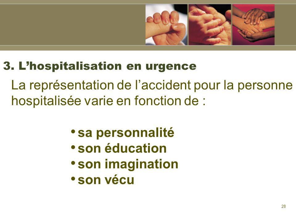 28 3. Lhospitalisation en urgence La représentation de laccident pour la personne hospitalisée varie en fonction de : sa personnalité son éducation so