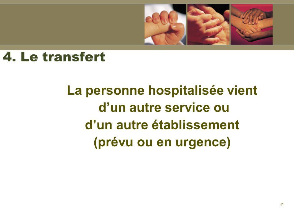 31 4. Le transfert La personne hospitalisée vient dun autre service ou dun autre établissement (prévu ou en urgence)