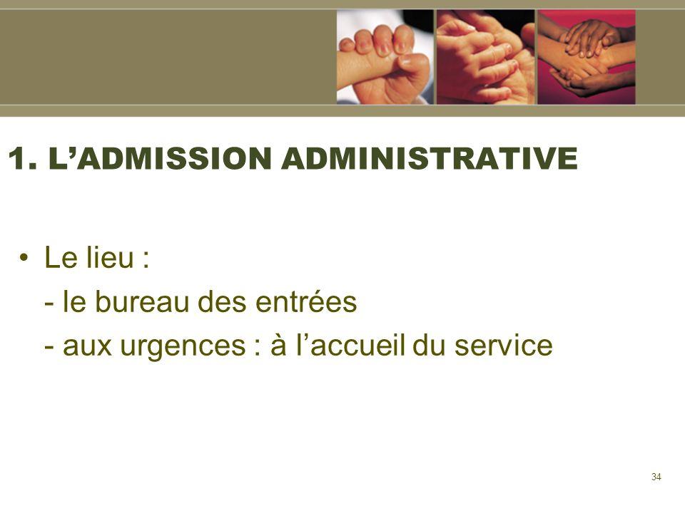 34 1. LADMISSION ADMINISTRATIVE Le lieu : - le bureau des entrées - aux urgences : à laccueil du service