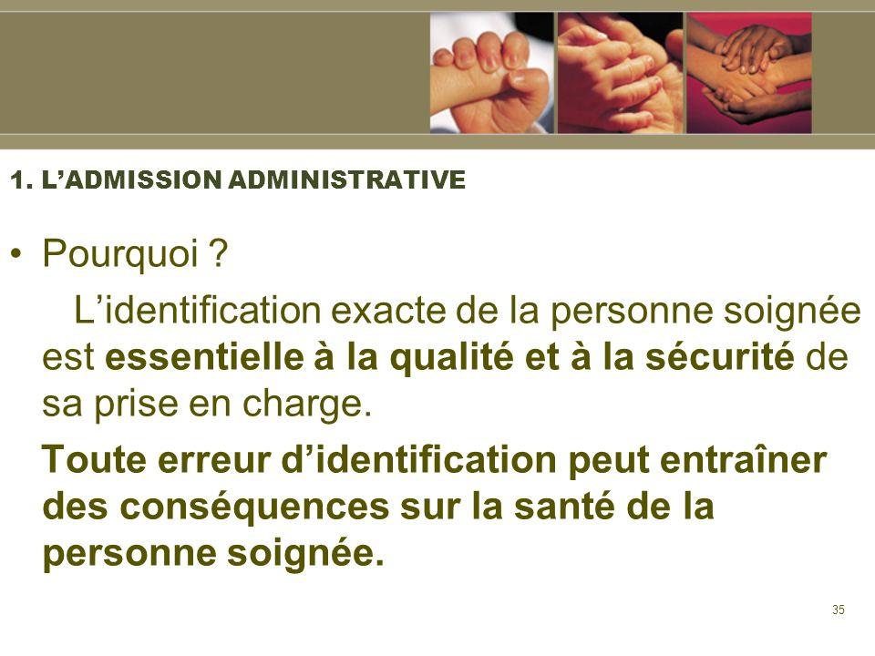 35 1. LADMISSION ADMINISTRATIVE Pourquoi ? Lidentification exacte de la personne soignée est essentielle à la qualité et à la sécurité de sa prise en