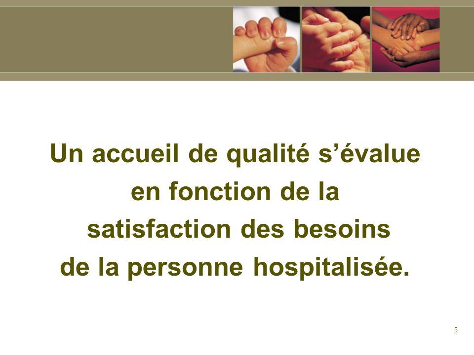 5 Un accueil de qualité sévalue en fonction de la satisfaction des besoins de la personne hospitalisée.
