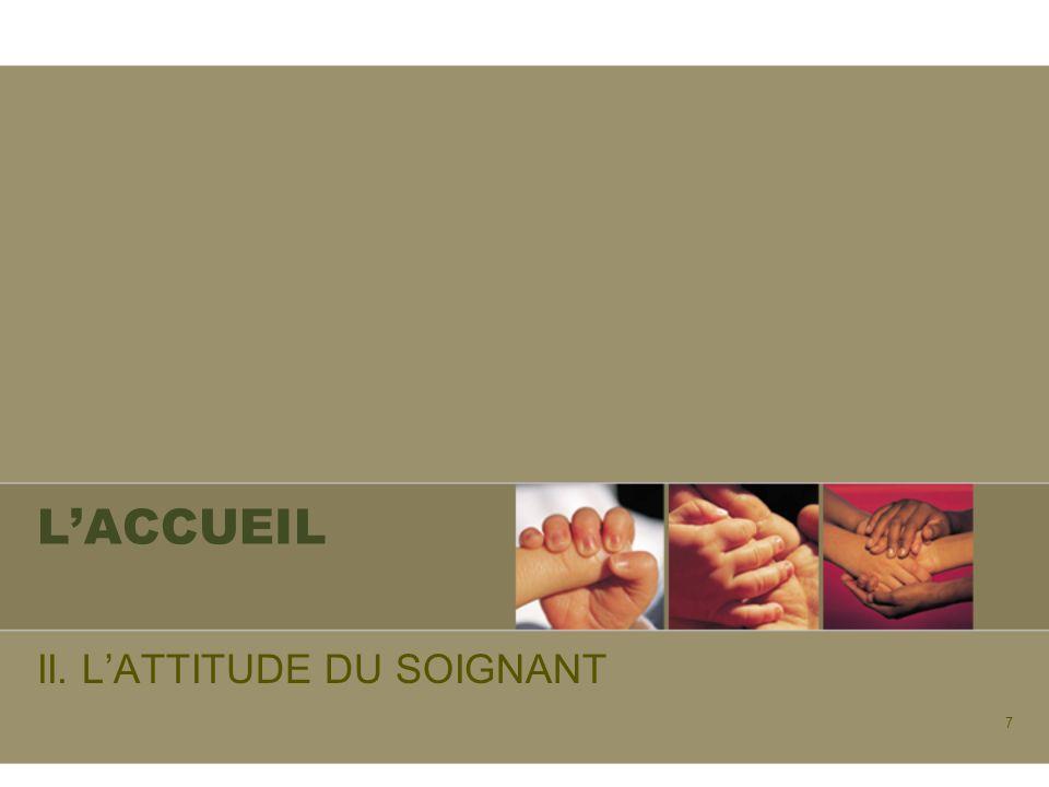 7 LACCUEIL II. LATTITUDE DU SOIGNANT