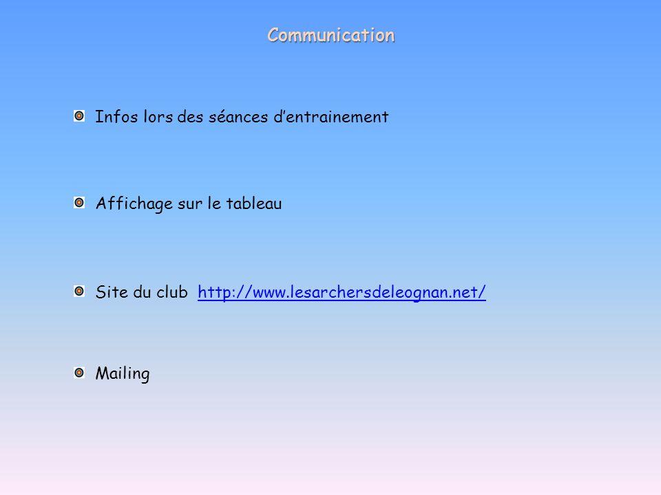 Communication Infos lors des séances dentrainement Affichage sur le tableau Mailing Site du clubhttp://www.lesarchersdeleognan.net/