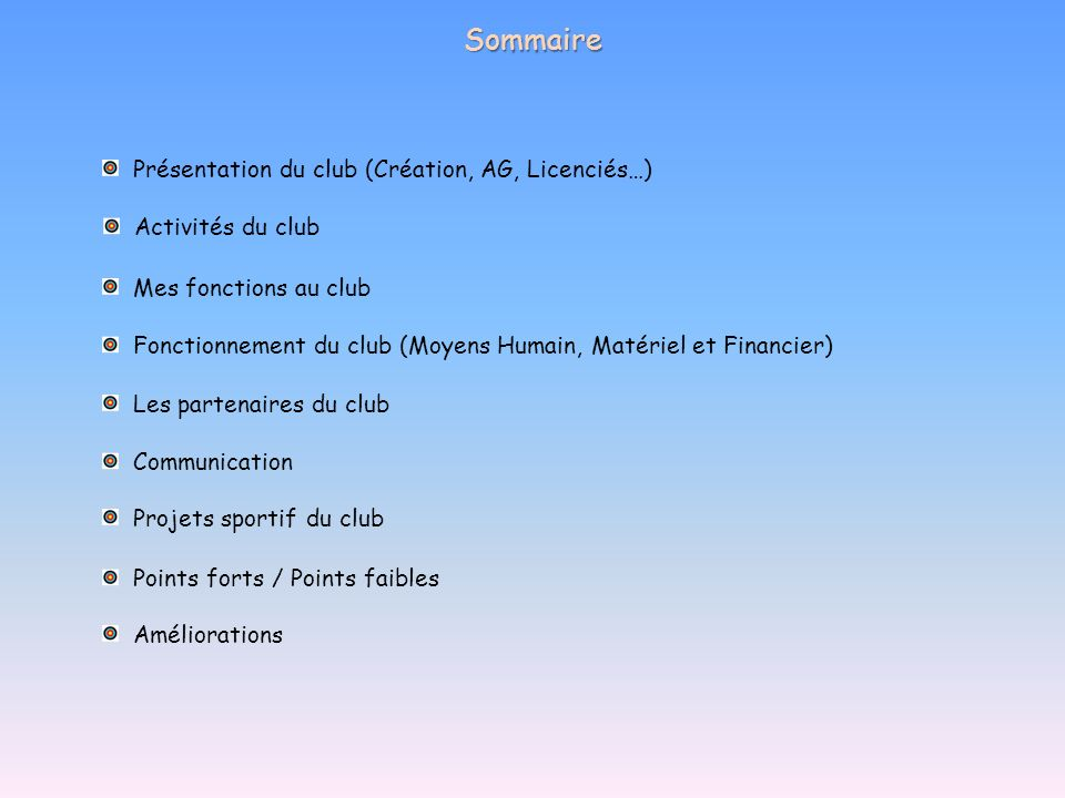 Sommaire Présentation du club (Création, AG, Licenciés…) Activités du club Mes fonctions au club Fonctionnement du club (Moyens Humain, Matériel et Fi