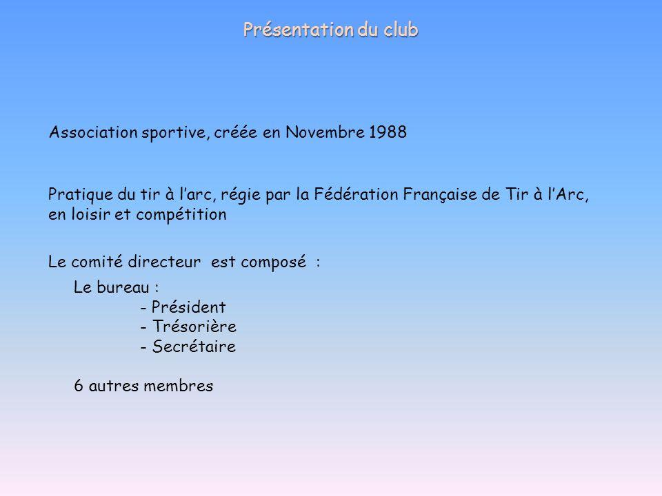 Présentation du club Association sportive, créée en Novembre 1988 Pratique du tir à larc, régie par la Fédération Française de Tir à lArc, en loisir e
