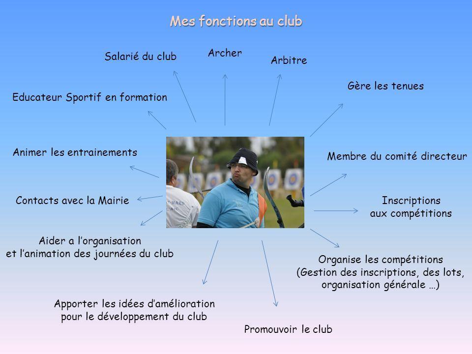 Mes fonctions au club Archer Arbitre Membre du comité directeur Educateur Sportif en formation Organise les compétitions (Gestion des inscriptions, de