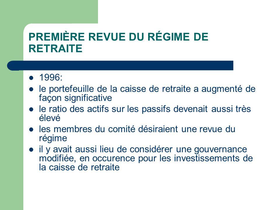 PREMIÈRE REVUE DU RÉGIME DE RETRAITE 1996: le portefeuille de la caisse de retraite a augmenté de façon significative le ratio des actifs sur les pass