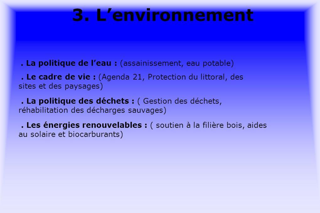 3. Lenvironnement. La politique de leau : (assainissement, eau potable).