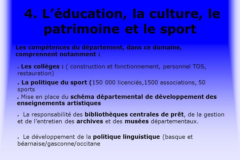 4. Léducation, la culture, le patrimoine et le sport.