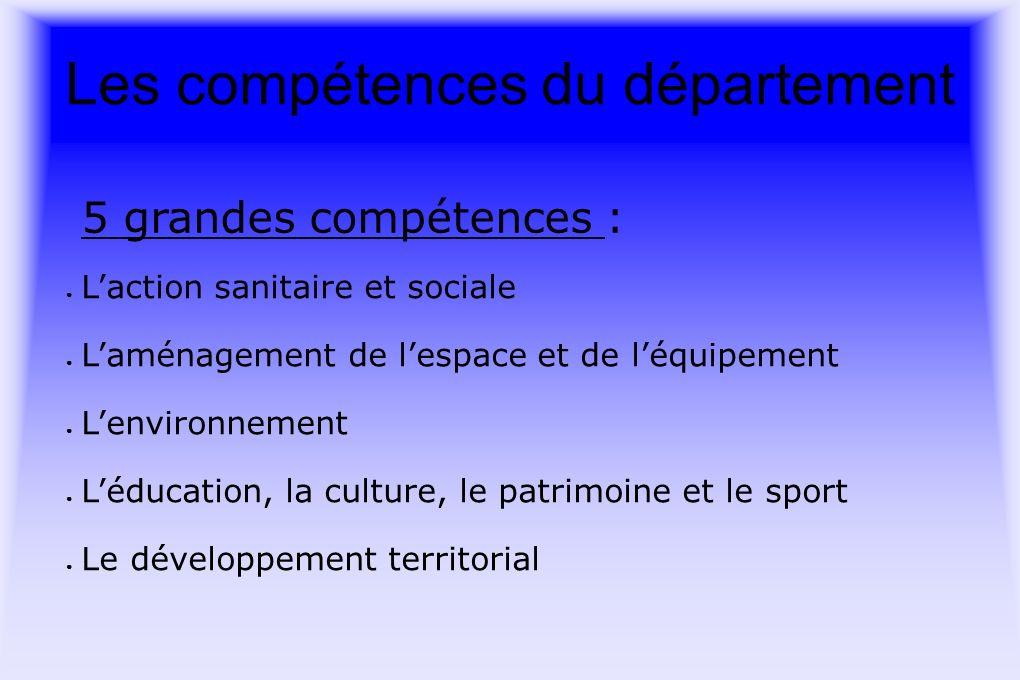 Les compétences du département 5 grandes compétences : Laction sanitaire et sociale Laménagement de lespace et de léquipement Lenvironnement Léducation, la culture, le patrimoine et le sport Le développement territorial