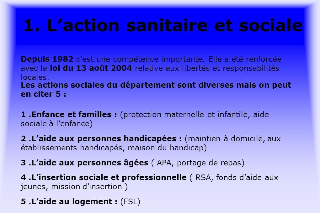1. Laction sanitaire et sociale Depuis 1982 cest une compétence importante.