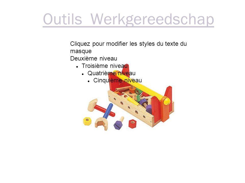 Outils Werkgereedschap Cliquez pour modifier les styles du texte du masque Deuxième niveau Troisième niveau Quatrième niveau Cinquième niveau