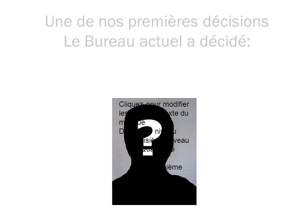 Une de nos premières décisions Le Bureau actuel a décidé: Cliquez pour modifier les styles du texte du masque Deuxième niveau Troisième niveau Quatrième niveau Cinquième niveau De classer directement les dénonciations anonymes … sauf fait majeur !