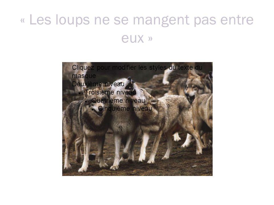 « Les loups ne se mangent pas entre eux » Cliquez pour modifier les styles du texte du masque Deuxième niveau Troisième niveau Quatrième niveau Cinquième niveau