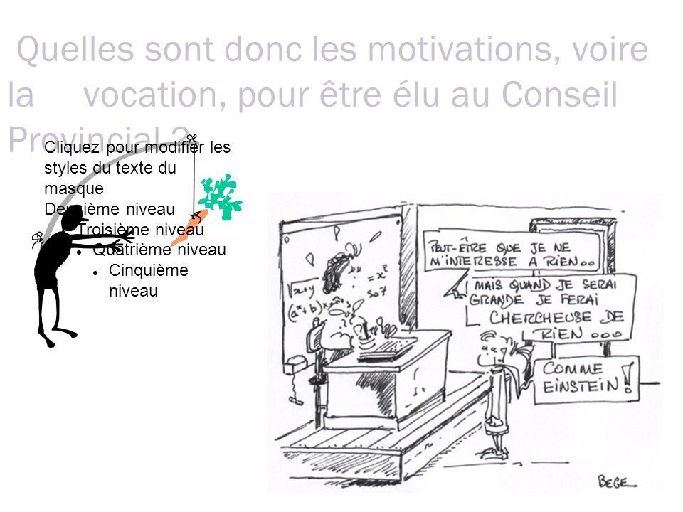 Quelles sont donc les motivations, voire la vocation, pour être élu au Conseil Provincial .