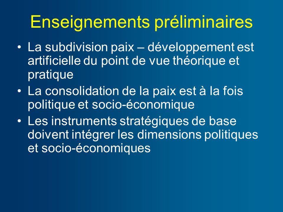 Enseignements préliminaires La subdivision paix – développement est artificielle du point de vue théorique et pratique La consolidation de la paix est à la fois politique et socio-économique Les instruments stratégiques de base doivent intégrer les dimensions politiques et socio-économiques