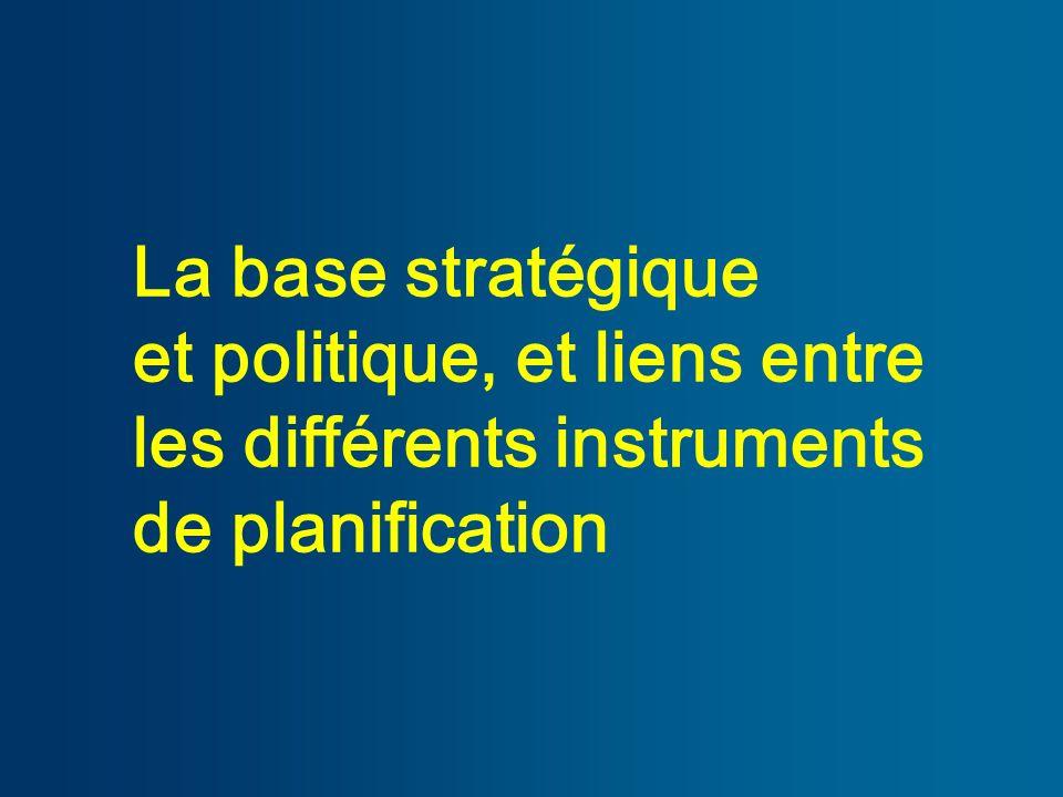 La base stratégique et politique, et liens entre les différents instruments de planification