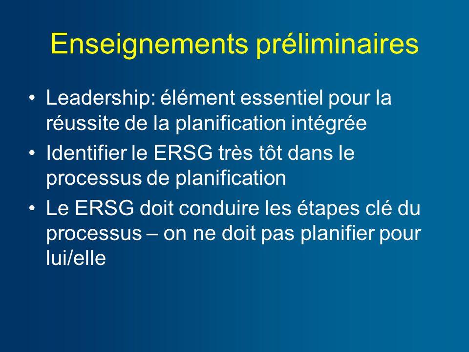 Enseignements préliminaires Leadership: élément essentiel pour la réussite de la planification intégrée Identifier le ERSG très tôt dans le processus de planification Le ERSG doit conduire les étapes clé du processus – on ne doit pas planifier pour lui/elle