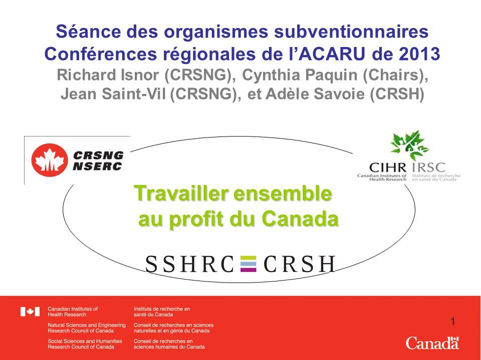 1 Travailler ensemble au profit du Canada Séance des organismes subventionnaires Conférences régionales de lACARU de 2013 Richard Isnor (CRSNG), Cynthia Paquin (Chairs), Jean Saint-Vil (CRSNG), et Adèle Savoie (CRSH)